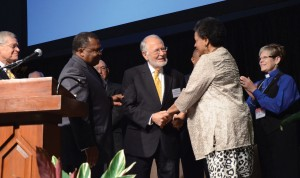 Photo by Greg  Campbell. (L to R) the Rev. Keith Tonkel, Rev. Tim Thompson, Rev. Maxie Dunnam, Myrlie Evers, and Rev. Kathy Price.