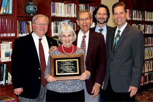 (L to R) the Rev. Keith Boyette, David and Jeanie Stanley, the Rev. Rob Renfroe, and the Rev. Tom Lambrecht.