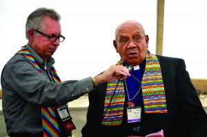 Dr. Bruce Robbins (left) with Retired Bishop Melvin Talbert at an event at the 2012 General Conference, UMNS.