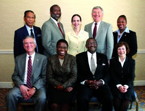 The Judicial Council for 2012-16. From left: Belton Joyner, J. Kabamba Kiboko, N. Oswald Tweh Sr., and Kathi Austin Mahle. Standing from left: Ruben T. Reyes, Dennis Blackwell, Beth Capen, William B. Lawrence and Angela Brown. A UMNS photo by Kathleen Barry.