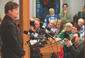 The Rev. Frank Schaefer speaks to reporters during a press conference at Arch Street United Methodist Church in Philadelphia. A UMNS photo by Mike DuBose.
