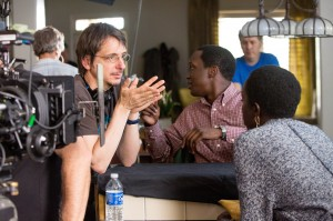 Behind-the-scenes with Director Phillipe Falardeau and Kuoth Wiel on set of The Good Lie. From thegoodliemovie.com.