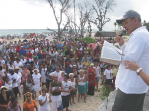 Bishop Ricardo Pereira preaches at a baptism service in Havana. Photo courtesy of the Methodist Church of Cuba.