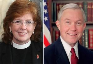 The Rev. Susan Henry-Crowe, General Secretary of GBCS and U.S. Sen. Jeff Sessions (R-AL)