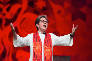 Bishop Sally Dyck at the 2016 United Methodist General Conference. Photo by Mike DuBose UMNS