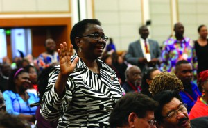 The Rev. Kabamba Kiboko, president of the United Methodist African clergywomen, responds to the message of the Rev. Jerry Kulah during the African central conferences worship service held Sunday, May 15. Photo by Kathleen Barry, UMNS.