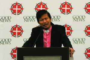 """""""I am very happy. For the first time, I can say that the best news of the day is that I am in the company of Good News,"""" Bishop Pedro M. Torio of Baguio City in the Philippines said as he greeted the guests at the Good News Briefing Breakfast."""
