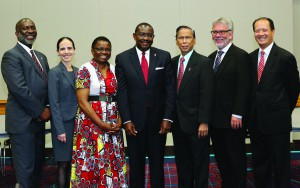 Judicial Council members from left are the Rev. Dennis L. Blackwell, Beth Capen, the Rev. J. Kabamba Kiboko, N. Oswald Tweh Sr., Ruben Reyes, the Rev. Øyvind Helliesen, and the Rev. Luan-Vu Tran. Not pictured are Deanell Reese Tacha and Lídia Romão Gulele. Photo by Kathleen Barry, UMNS.
