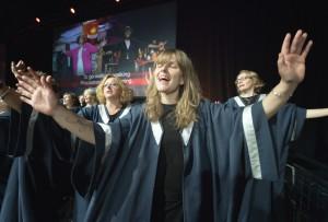 Maria Thaarp and KEFAS gospel choir. UMNS photo.