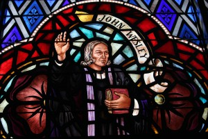Stained glass window depicts Methodism's founding father, John Wesley. Photo by Ronny Perry, United Methodist Communications.
