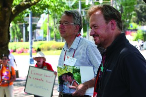 The Rev. Mike Tupper (left) and the Rev. Frank Schaefer during a May 13 press conference. Photo by Kathleen Barry, UMNS.