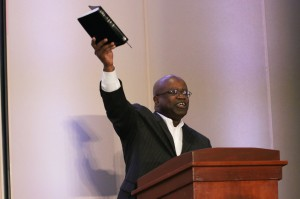 The Rev. Kenneth Levingston from Houston addressed the Wesleyan Covenant Association. Photo by Steve Beard.