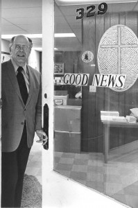 The Rev. Dr. Charles Keysor at the offices of Good News.
