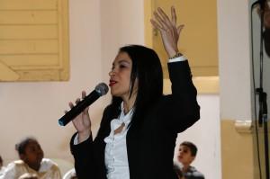 Pastor Adria Nuñez Ortiz delivering a message at Central Havana Methodist Church. Photo by Steve Beard.