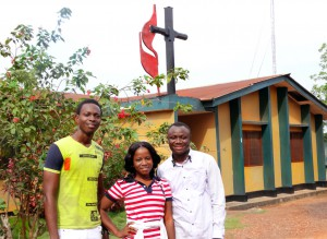 Photo by Phileas Jusu, UMNS Johannes Baun (from left), Rose Saffa and Mohamed Nabieu, who were helped at the Child Rescue Center, are giving back the help they received by working at the center. The rescue center was founded to care for children impoverished by the 1991-2002 Sierra Leone civil war.